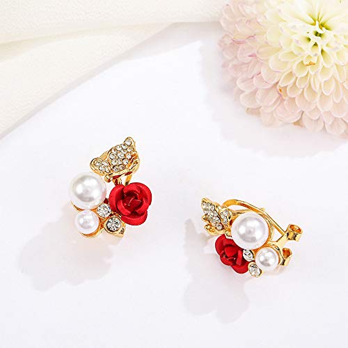 ❤Ywoow❤ Female Earrings, 1 Pair Red Rose Flower Imitation Pearl Plated Crystal Stud Earring by ❤Ywoow❤ (Image #2)