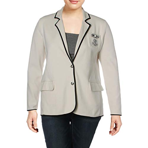 LAUREN RALPH LAUREN Womens Plus Embellished Logo Two-Button Blazer Ivory 1X (Ralph Womens Lauren Blazer)