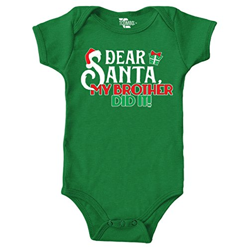 Dear Santa My Brother Did It - Christmas Bodysuit (18 Months, KELLY GREEN) - Tuxido Suit