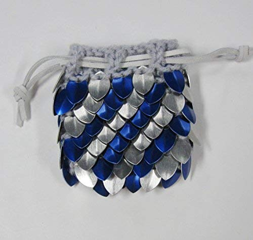 Dice Bag in knitted scale armor - Silver and Blue Stripe - Small 3.5''x3.5'' by Crystal's Idyll
