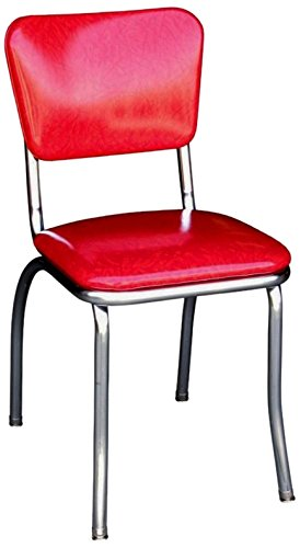 Richardson Seating Retro Chrome Kitchen Chair with 1 Pulled Seat, Cracked Ice Red