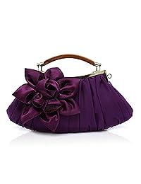 TopTie Frill Handbag Purse with Satin Flower, Evening Clutch
