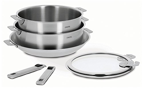 Cristel Strate 18/10 Stainless Steel 7 Piece Cookware Set with Removable Handles