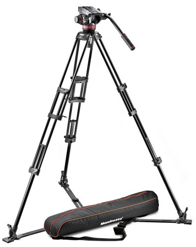 Manfrotto MVH502A,546GB-1 Professional Fluid Video System with Aluminum Tripod and Ground Spreader (Black)