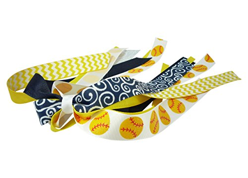 Navy and Yellow - or choose colors - Sparkly softball Handmade hair ribbon for girls by Bow Flip Flops