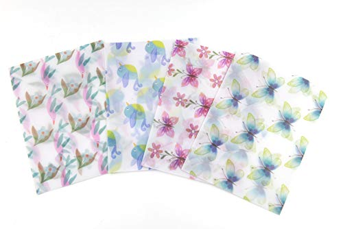- 12 Pieces Floral Butterfly Design Vellum Paper envelopes for Greeting Cards, Invitations, Announcements-5.9x4.3inch
