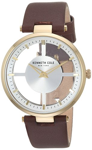 Kenneth Cole New York Women's Quartz Stainless Steel and Leather Casual Watch, Color:Brown (Model: KC15004006)