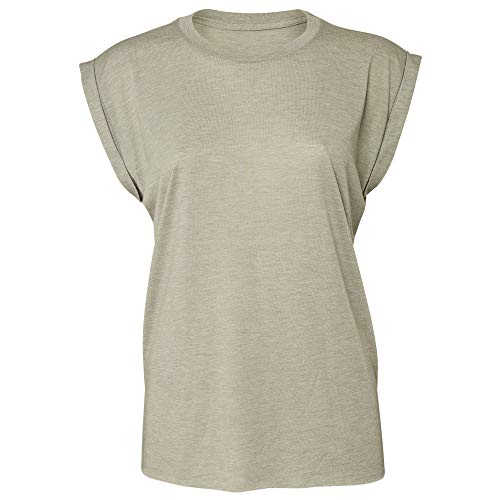 - Bella + Canvas Womens/Ladies Flowy Rolled Cuff Muscle T-Shirt (L) (Heather Stone)