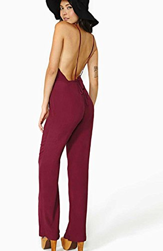Kufv Women's Deep V-neck Strapy Backless Straight Pant Jumpsuits Long Rompers