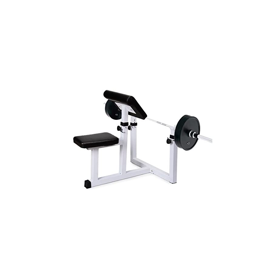 Sportmad Preacher Curl Bench Weight Bench Press Rack Adjustable Seated Dumbbell Bench Roman Chair Hyperextension Bench Barbell Rack for Home Gym Exercise Fitness Workout Arm Training, 440 lbs Capacity