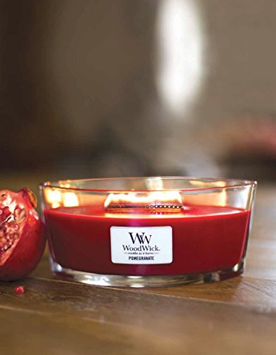 POMEGRANATE WoodWick New Collection HearthWick Flame Large Oval Jar Scented Candle - 16 Ounces by WoodWick (Image #1)