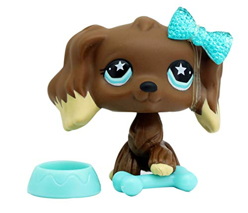 LPSTHREE LPS Cocker Spaniel 960 Chocolate Brown Dog Star Eyes Dog Puppy with Accessories Figure Cartoon Animal Figures Collection Figure Cute Toy Kids Boy Girls Gift -