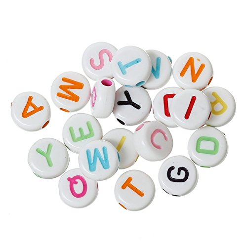 (Yc 1000pcs 7mm Mixed Acrylic Letter Alphabet Beads Round Loose Beads (7mm, 2#))