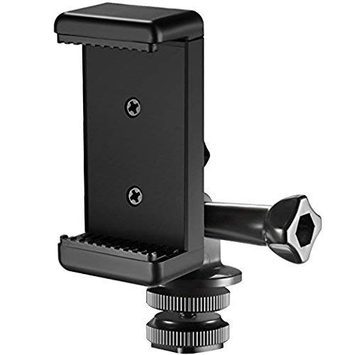 Followsun 3-in-1 Hot Shoe Mount Adapter Kit - includes Hot Shoe Mount, GoPro Adapter and Universal Phone Holder for Attaching Phone or GoPro Hero on DSLR