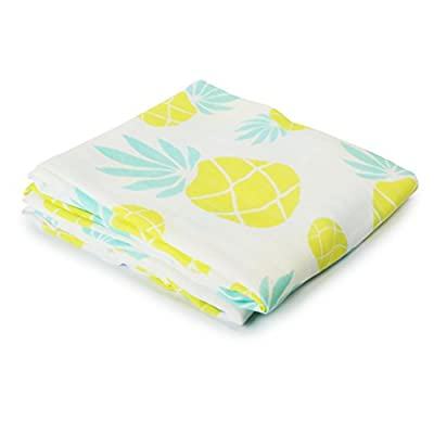 """Baby Loovi Muslin Swaddle Blanket for Babies and Toddlers - Extra Large 4747"""" Swaddle Blanket with Pineapple Design - 70% Bamboo 30% Cotton Baby Shower Gift"""