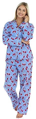 PajamaMania Women's Sleepwear Flannel Long Sleeve Pajama Set- Cardinals (PMF1002-2032-MED) - Flannel Pajama Pants Sleepwear