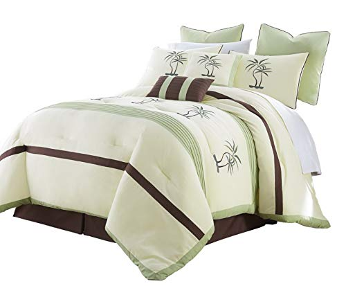 Kaputar Bali 8pc Embroidered Palm Trees Pleated Striped Comforter Set | Model CMFRTRSTS - 7207 | California King
