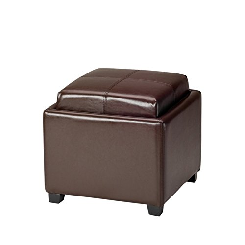 Safavieh Hudson Collection Harrison Brown Leather Single Tray Ottoman