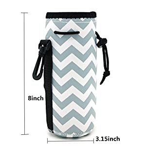Water Bottle Sleeve, Carrier Cover Neoprene Water Bottle Drawstring Insulator Cooler Sleeve bag