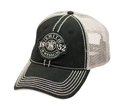 Back Logo Cap Hat - S&W Distressed 1852 Patch Logo Black Mesh Back Cap - Officially Licensed