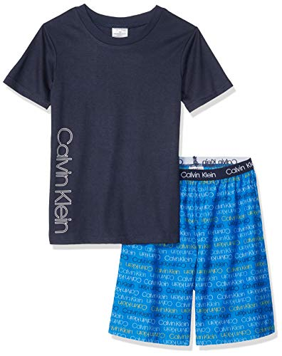 Calvin Klein Bottoms - Calvin Klein Boys' Little 2 Piece Sleepwear Top and Bottom Pajama Set Pj, Black, CK Victoria Iris Logo, S