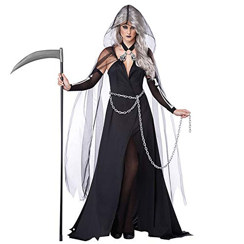 Sijux Adult Women's Halloween Cosplay Costume Black Yarn Witch Night Ghost Game Dress Set,Legends of Evil,Blue,M]()