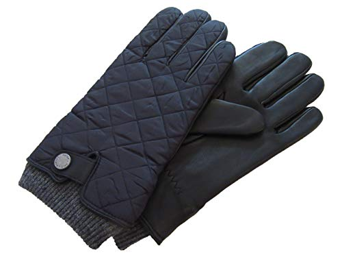 Polo Ralph Lauren Mens Nylon Sheep Leather Quilted Strap Gloves (X-Large, Black) (Ralph Lauren Polo Leather Gloves)