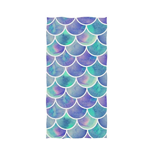 Naanle Chic Watercolor Rainbow Scales of Mermaid Soft Absorbent Large Hand Towels Multipurpose for Bathroom, Hotel, Gym and Spa (16