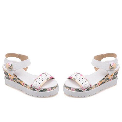 AgooLar Women's Hook-and-loop Open Toe High-Heels PU Assorted Color Sandals White K0d6G8jp