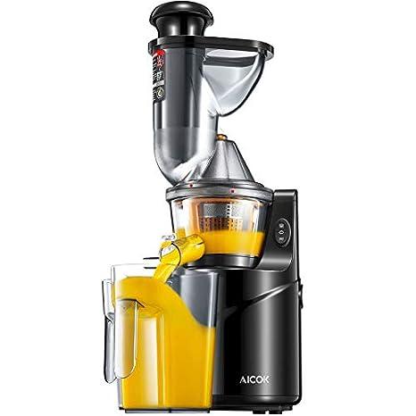 Aicok - Extractor de jugo lento, gran apertura de 75 mm para zumo de frutas y verduras, incluye un tarro para zumo y un cepillo de limpieza: Amazon.es: ...