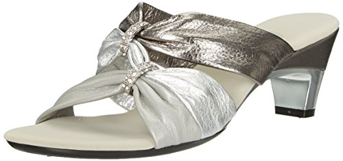 Onex Women's Kylee Heeled Sandal, Pewter Combo, 7 M US (Combo Pewter)