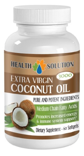 Coconut Oil Extra Virgin 3000mg Medium Chain Fatty Acids 60 Softgels 1 Bottle