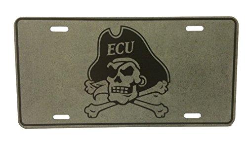 East Carolina Pirates NCAA ECU Charcoal/Black Metal Car Tag