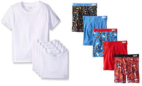 Fruit of the Loom 5-Pack Toddler Assorted Briefs & White Crewnecks (2T/3T, Boxer Brief / Undershirt Set) … (4T, Boxer Brief / Crewneck Set) ()