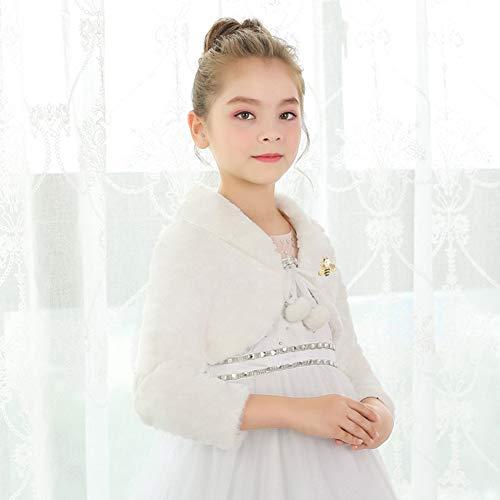 SK Studio Girls Princess Faux Fur Flower Bolero Shrug Party Wedding Dress Up