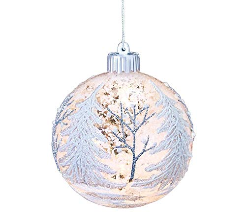 burton+BURTON Lighted Glass Ornament with Snow Scene (Painted Ball Ornaments Glass Hand)