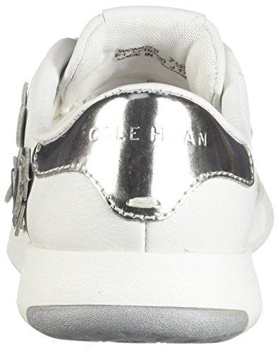 Cole Haan Donne Grandpro In Pelle Di Bue Di Tennis Del Merletto Di Modo Sneaker Bianco Ottico-argento Specchio