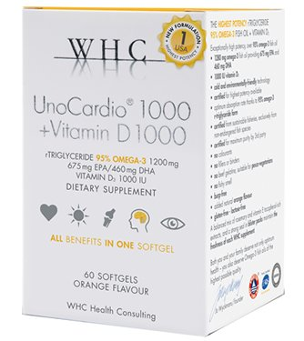 UnoCardio 1000 + Vitamin D 1000, 60 Softgels by WHC Health Consulting