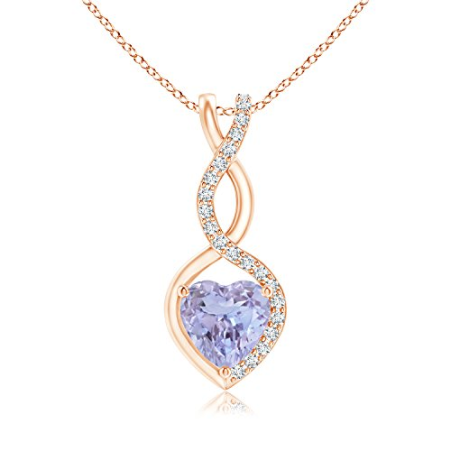 Tanzanite Infinity Heart Pendant Necklace for Women with Diamond Accents in 14K Rose Gold (5mm Tanzanite) (14k Tanzanite Pendant)
