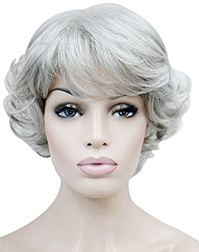 GOOACTION Short Curly Silver Gray Wig for