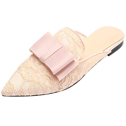 Shoes On Loafers Pink b Flats Women Casual for Slip Backless Mesh Mule Eithy Leather Slides xqnCRwf8wP