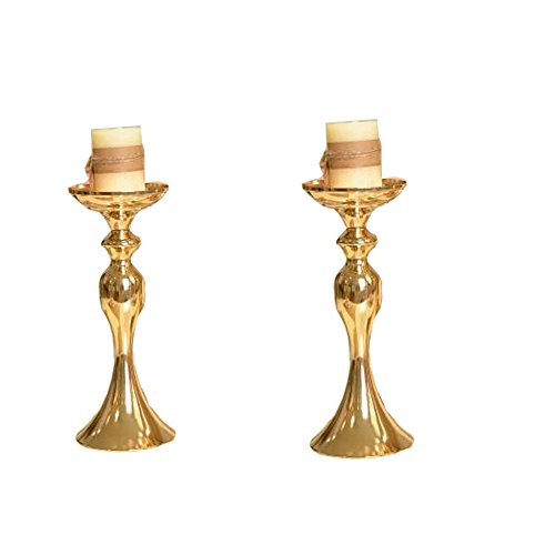 "LANLONG 2pcs Gold Metal Candle Holders 50cm/20'' Stand Flowers Vase Candlestick As Road Lead Candelabra Centre Pieces Wedding Decoration (Gold, 12.5"") from LANLONG"