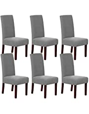 Stretch Dining Chair Covers Chair Covers for Dining Room Parson Chair Covers Slipcovers Chair Protectors Covers Dining, Feature Spandex Textured Checked Jacquard Fabric