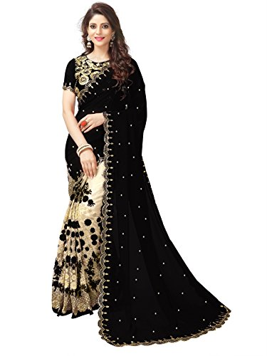 Latest Mohit Creations Partywear Embroidered Georgette Saree with Unstitched Blouse (Black) Saree 12