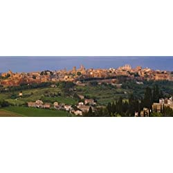 High angle view of a cityscape Orvieto Umbria Italy Poster Print (36 x 13)