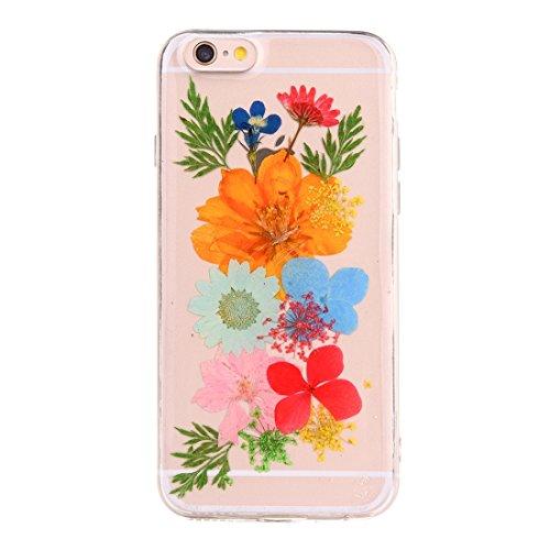 GR Weiche transparente TPU Epoxy Dripping gepresste echte getrocknete Blume Schutzhülle für iPhone 6 Plus & 6s Plus ( SKU : Ip6p2996q )