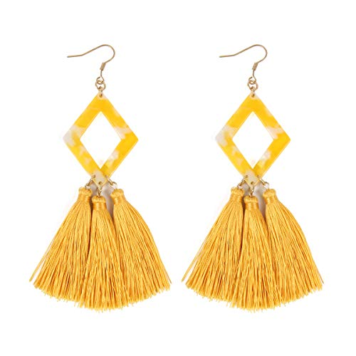 RIAH FASHION Bohemian Silky Thread Fan Tassel Statement Drop - Vintage Gold Feather Shape Strand Fringe Lightweight Hook/Acetate Dangles Earrings/Long Chain Necklace (Diamond Acetate Tassel - Yellow)