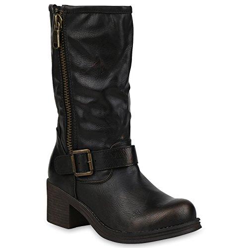 Stiefelparadies Stylische Damen Schuhe Reiterstiefel Schnallen Stiefel Blockabsatz Flandell Bronze Zipper