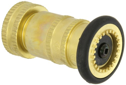 Moon 7171-1521 Brass Fire Hose Nozzle, Industrial Fog, 85 gpm, 1-1/2