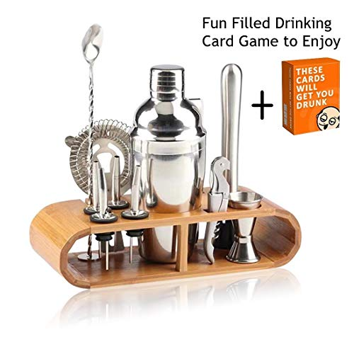 Cocktail Shaker Bar Mixer Set-Professional Bartender Premium Stainless Steel 25oz. Perfect For Homemade Party Drinks with Your Favorite Liquor Mixes. This 12 Piece Kit Has All The Essentials You Need.